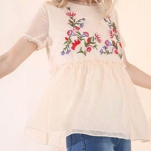 New Boutique Swiss Dot Embroidered Babydoll Blouse